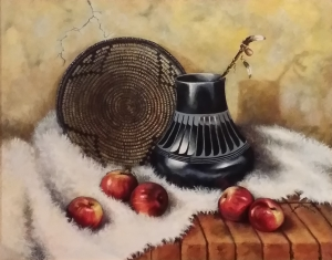 Maria Martinez pottery and red apples